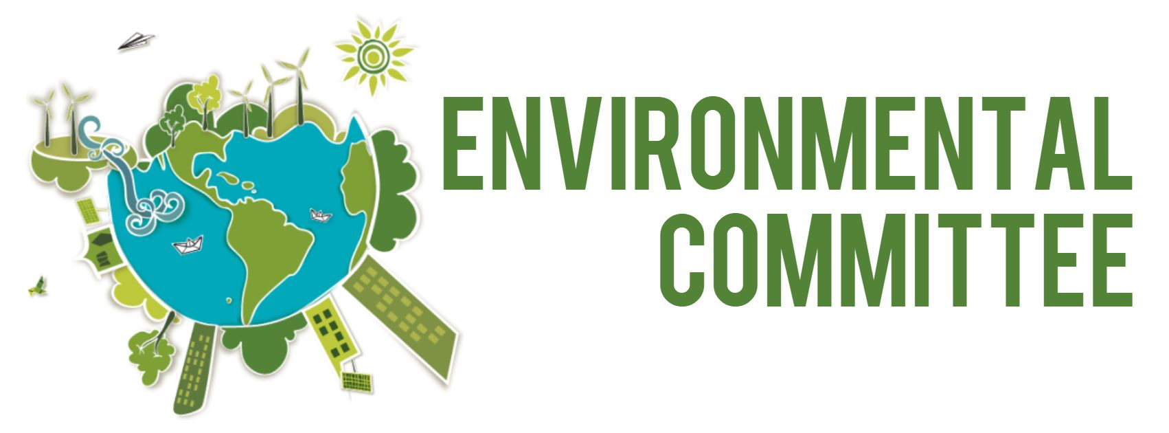Environmental Committee graphic with globe and buildings