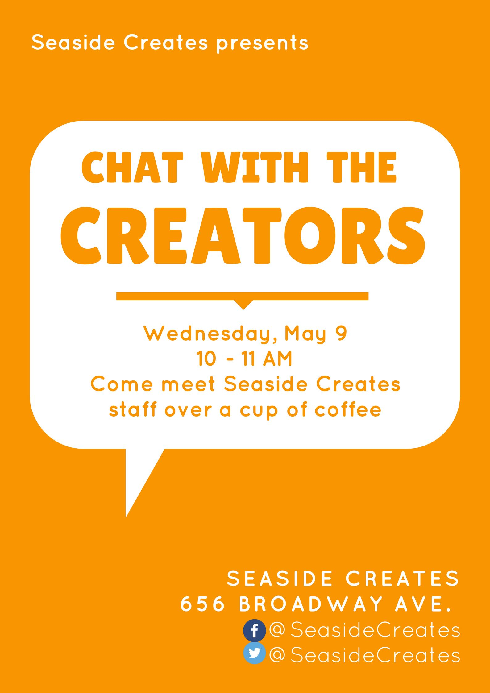 "Orange and white ""Chat with the Creators"" flyer"