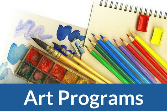 """Art Program"" icon with image of art supplies"