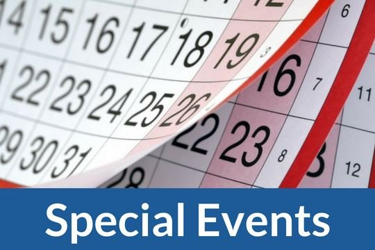 """Special Events"" graphic icon with image of calendar"