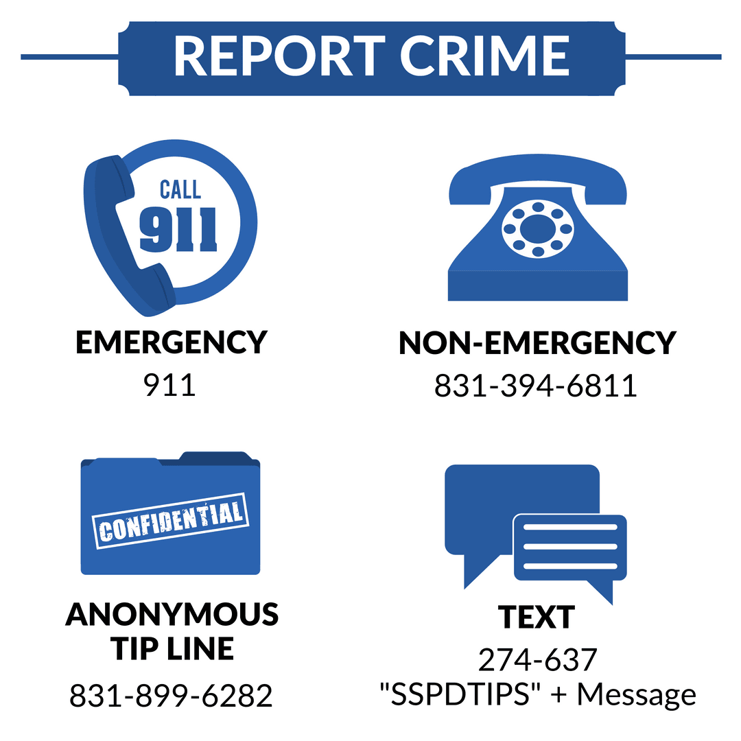 """How to Report a Crime"" contact info graphics"