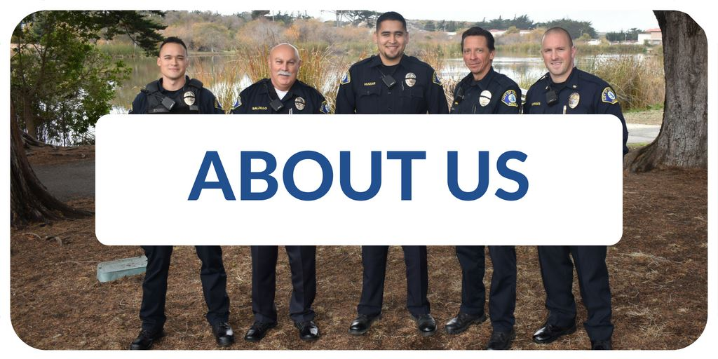 """About Us"" banner with image of police officers"