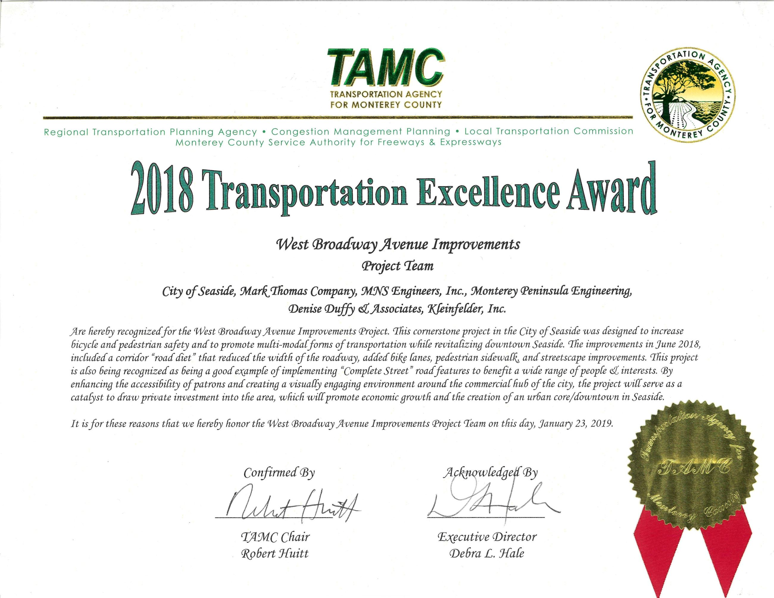 Award for TAMC 2018 Transportation Excellence Project