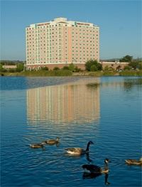 View of Embassy Suites Hotel from across Robert's Lake