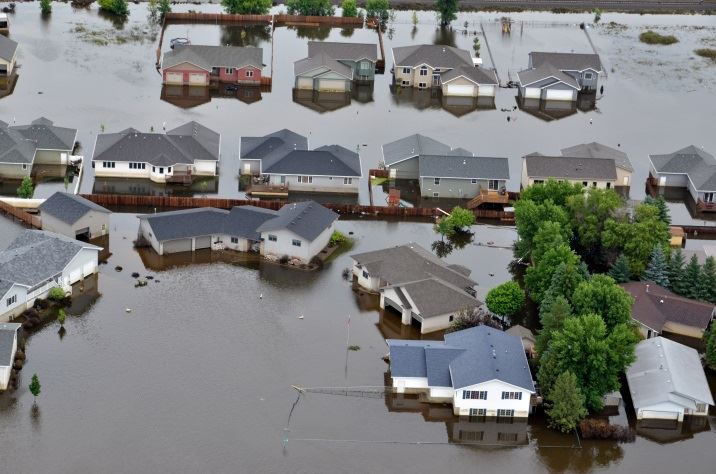 Houses under water during flood